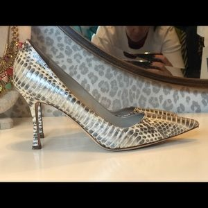Manolo Blahnik Silver Reptile Heels